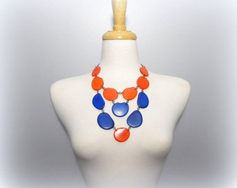 Eco Friendly Tagua Necklace in Blue and Orange with Free USA Shipping #taguanut #ecofriendlyjewelry