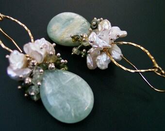 Heart Chakra Tourmaline Earrings, Yoga Jewelry, Kyanite Earrings, Keshi Pearl Earrings, June Birthstone Earrings, June Birthday Gift