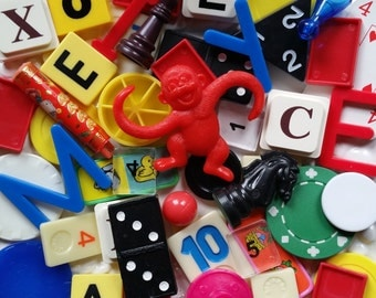 50 Game pieces Vintage-modern --Great in mosaics and lots of other fun mixed media crafts