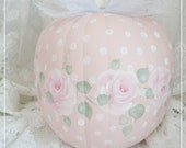 Love for Linda, Large Ballet Pink and Polka Dot Faux Hand Painted Pumpkin, Roses, Original Design,Shabby Autumn Decor, ECS