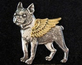 BOSTON TERRIER Guardian ANGEL Dog Pin / Jewelry for Dog Lovers by Cloud K9 / Brooch for Pet Loss Pet Memorial Sympathy. Silver dog gold wing