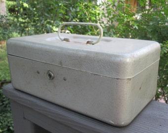 Vintage Gray Metal Storage Box With Handle  - CCC TOP - Industrial Decor