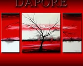 Custom  Painting Red Large Landscape Three Canvas