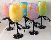 Daisy Wine Glasses- Set of 5