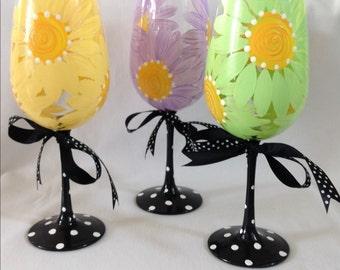 Daisy Wine Glasses- Set of 3