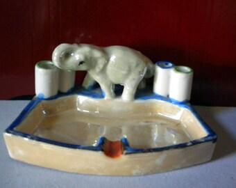 Vintage Japan lustreware elephant ashtray or trinket tray