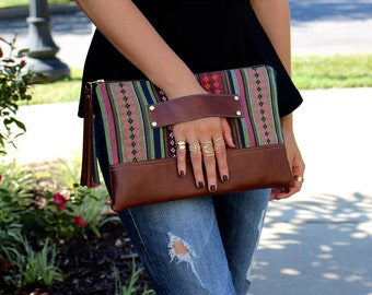 Navajo Bohemian Stripe Clutch / Kindle Case / Hand Handle