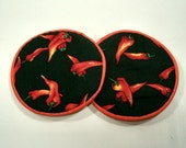 Red Peppers Cloth Coaster Set of 2  Set #33
