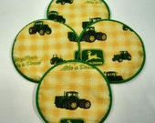John Deere Yellow Cloth Coaster Set of 4    Set # 10