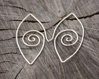 Sterling Silver Spiral in Eye-Shape Hoop Earring
