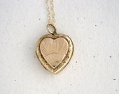 Vintage Art Deco Heart Locket with Sunburst Design, 9k Gold Back & Front