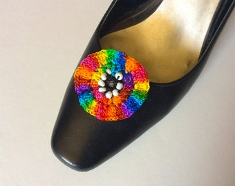 Crocheted Rainbow Circle Shoe Clips with Black and White Centers