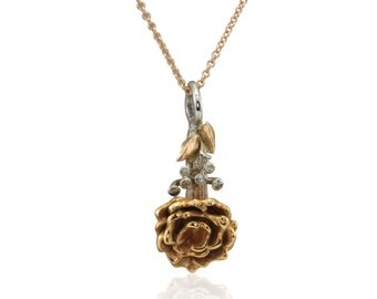 Rose Gold Pendant, Rose on a Stem Pendant in 14kt White and Rose Gold with a sprig of Diamond Baby's Breath - LS2555