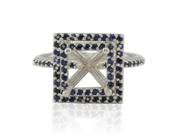 Blue Sapphire Double Halo Engagement Ring Semi Mount in 14kt White Gold - 7mm Square Cut - Harper Collection - LS2825