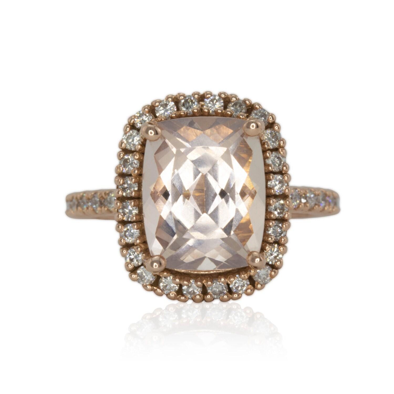 Morganite Ring 3 carat Engagement Ring Diamond Halo