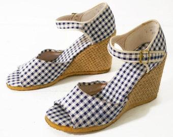 Size 7// 70s Vintage // Gingham Sandals // Woven Jute Wedge // Open Toe Sandals // 97