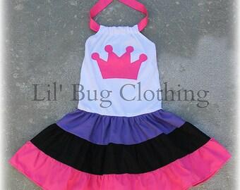 Princess Crown Tiered Dress, Princess Birthday Party Dress, Princess Birthday Party Outfit, Cute Girl Clothes