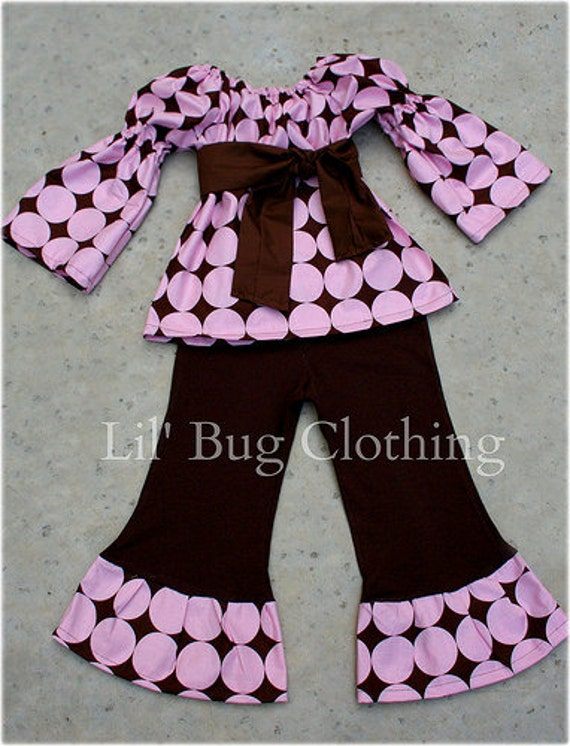 Custom Boutique Cocoa Pink Disco Dot Peasant Pant 12 18 24 2t 3t 4t 5t 6 7 girl
