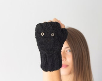 Black owl texting gloves fingerless gloves mittens hand warmers womens knit gloves gift for her mitts half finger gloves