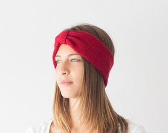 Sales Red Knit turban headband ribbed head wrap ear warmer hair accessory hand knit headband