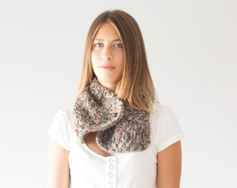 Sales Knit neck warmer knit collar in beige brown tones slouchy cowl gift under 50 for her