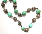 Turquoise Silver Necklace Antique Victorian