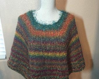Fiesta Poncho, Hand Knit in Chunky Yarn
