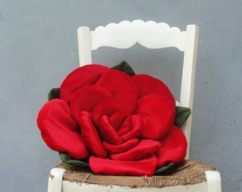 Red Rose Pillow Plush Pillow Floral Couch Cushion 3 dimensional Petal Pillow