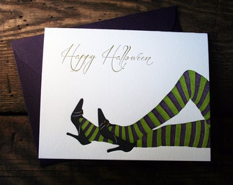Halloween Witches' Legs Greeting Card - single