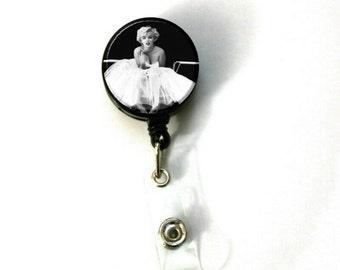 "1.25"" Marilyn Monroe Tutu Image Retractable ID Name Holder Badge Reel Clip On Nurse"