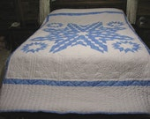 Star Quilt, Handquilted Quilt, Blue and White Lone Star Quilt, Queen Size Quilt, Blue And White Quilt