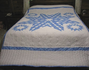 Free shipping in USA, Hand Quilted Quilt, Lone Star Quilt, Queen Size Quilt, Blue And White Quilt, Star Quilt