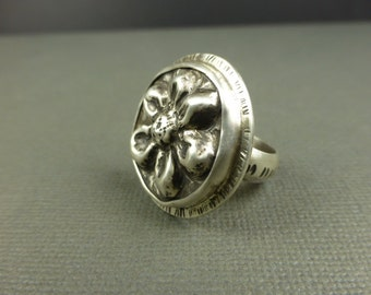 Silver Flower Ring Adjustable Repousse and Chasing One of a Kind ring