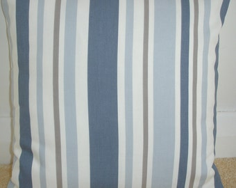 """22x22 Pillow Cover Blue Brown and Cream Stripes 22"""" Cushion Case Sham Slip Pillowcase China French Taupe Beige Striped Stripe 22in Square"""