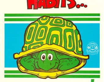 Vintage Work Safety Poster Sears Workplace Safety Habits Protect Us Turtle