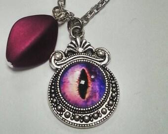 Evil Eye Cat Monster Pendant Necklace
