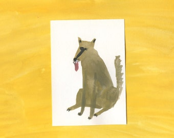 100 Hideous Hounds - No. 36 - Original Gouache dog painting