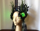 Light up festival feather headdress - black and green feather-free headdress - glow in the dark costume headpiece - LED feather crown