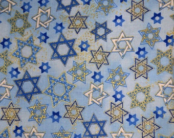 Judaic Fabric White Blue and Gold Stars on Light Blue Half Yard