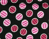 Pink stripe circle fabric - 26 inches x 42 inches - black background silver accents