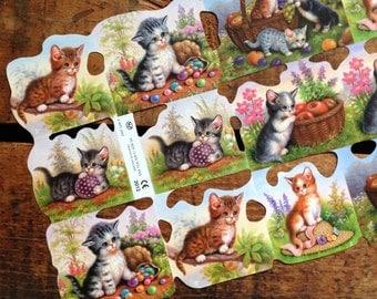 Reproduction German Scraps: Baby Kittens - Die Cuts, Cut Outs, Vintage Style, Vintage Inspired, Cute Kittens, Paper Ephemera, Repro Scraps