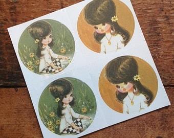 Vintage Inspired Sticker Sheet - Harlequin Girls - Crafting, Scrapbooking, Journal, Planner, Planner Stickers, Supplies, Stickers, Kitsch
