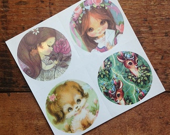 Vintage Inspired Sticker Sheet - Girls, Deer, and Puppy - Crafting, Scrapbooking, Journal, Planner, Planner Stickers, Supplies, Stickers
