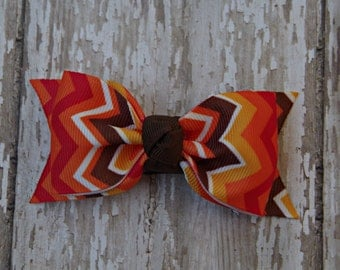 Thanksgiving Toddler Bow Fall Toddler Bow Autumn Toddler Bow Tuxedo Style Toddler Hair Bow 3 Inch Alligator Clip Baby Hairbow