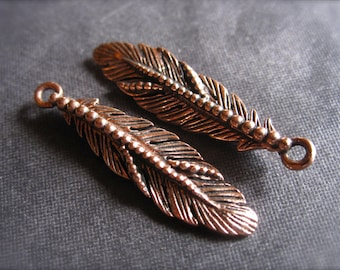 Copper Smaller dotted feather - double Sided charm - gorgeous, heavy charm with design on both sides