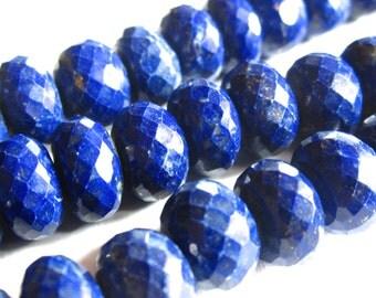 Large Lapis Lazuli beads - faceted rondelles - 9mm X 6mm - semiprecious gemstones