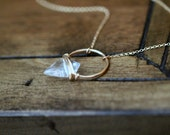 Arrowhead Gemstone Necklace , Crystal Quartz Hoop Stone In Gold , Rose , Sterling , Modern Layering Jewelry - Albatross