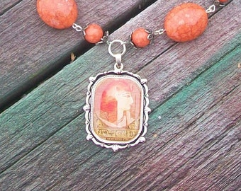 Orange Egyptian Pharaoh Beaded Necklace