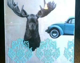 Original Artwork- acrylic mixed media with poured epoxy resin- Dont Bug a Moose