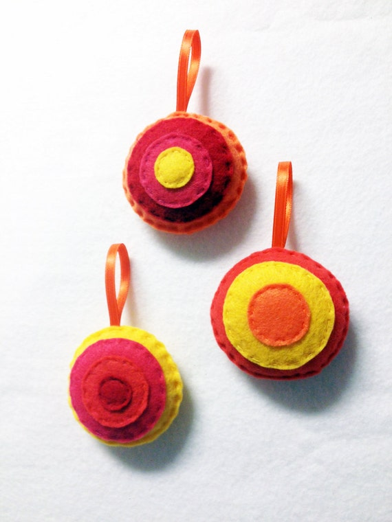 Christmas Ornament, Felt Dot Ornament Set, Citrus, Hand Stitched Holiday Decor, Gifts under 10